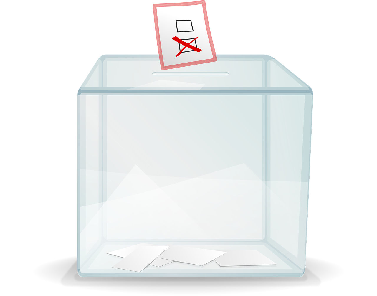 A ballot box with votes