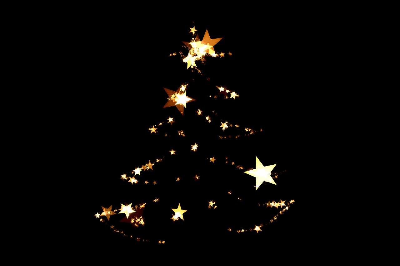 A Christmas tree made of golden stars