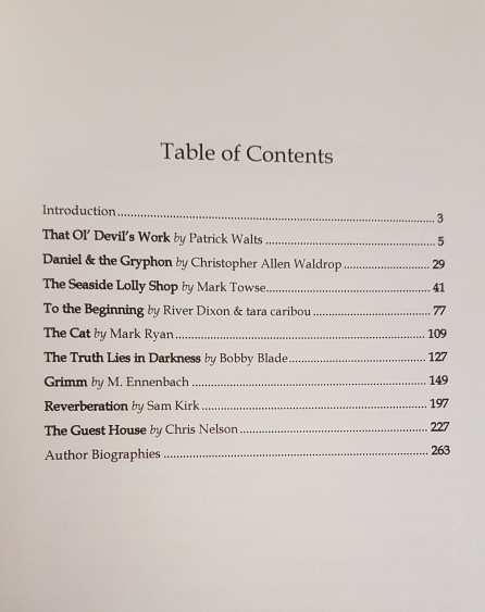 "Table of Contents with ""Reverberation"" in it."